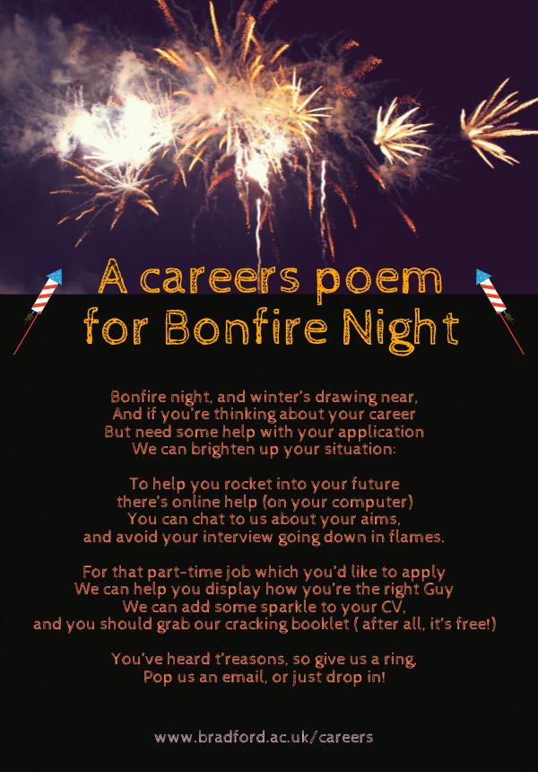 a careers poem for bonfire night
