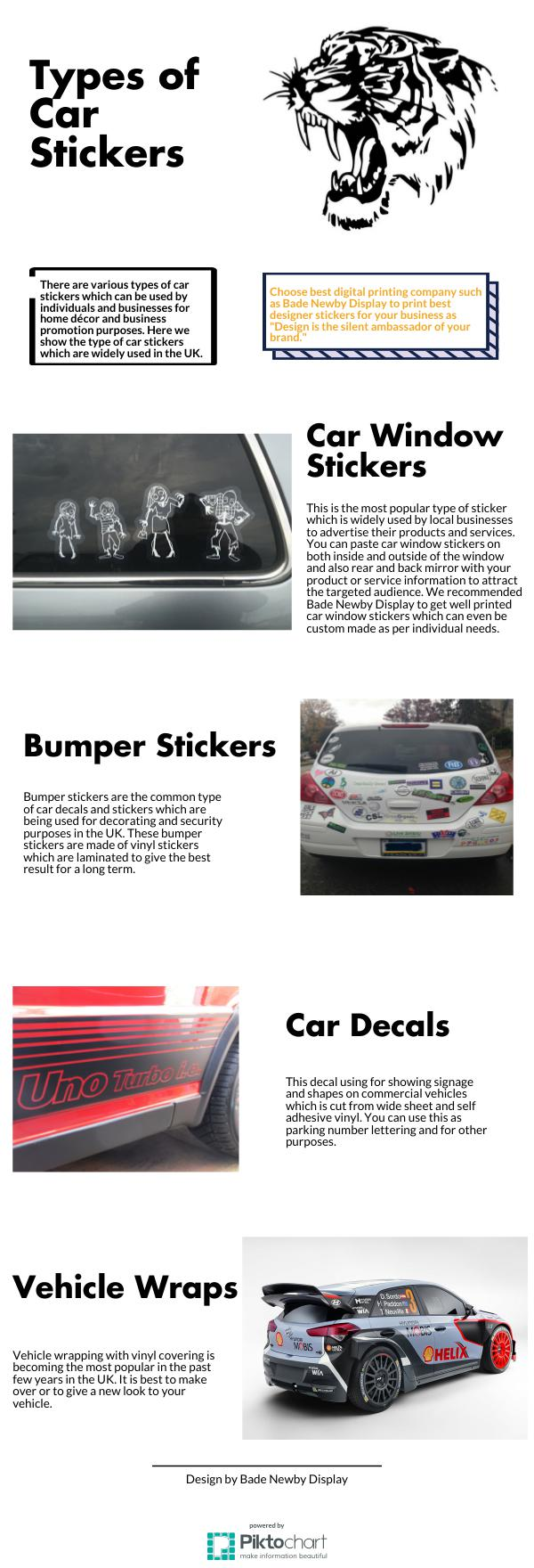Types of car stickers bumper car window and vehicle for Used car window sticker template