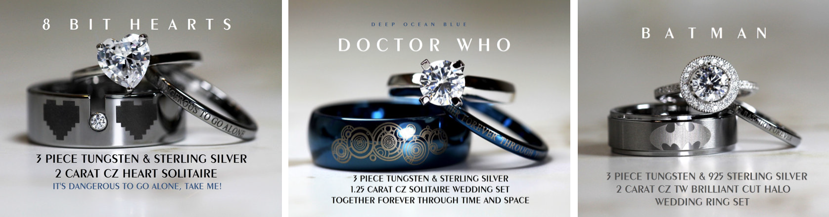 Superhero wedding rings